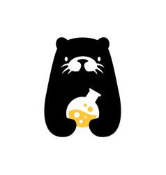 Otter laboratory labs negative space logo icon vector