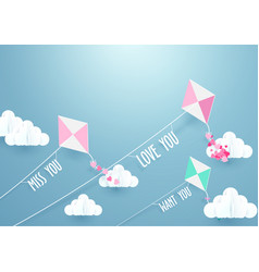 Paper art fly kite and clouds on a blue sky vector