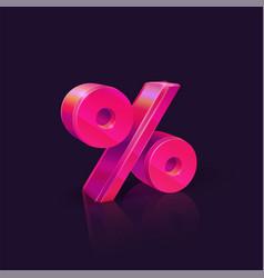 Percent sign neon pink percent sign on dark vector
