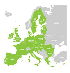 political map of europe with green highlighted 28 vector image
