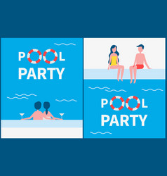 pool party posters text set vector image