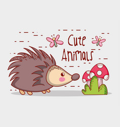 Porcupine in forest cute cartoon vector