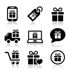 present shopping icons set vector image