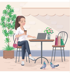 pretty girl sitting in street cafe vector image