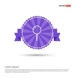 push pin icon - purple ribbon banner vector image