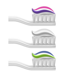 realistic detailed 3d toothpaste and toothbrush vector image