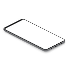 realistic isometric black frameless smartphone vector image