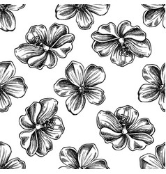 Seamless pattern with black and white meadow vector