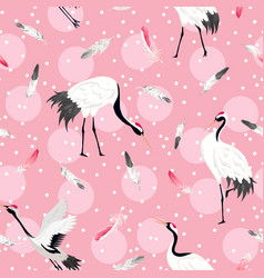 seamless pattern with japanese cranes background vector image