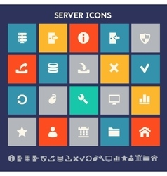 Server icon set Multicolored square flat buttons vector image
