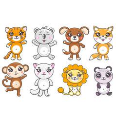Set cute cartoon animals smiling baanimas vector