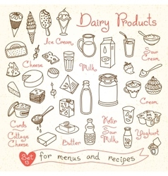Set drawings of milk and dairy products for design vector