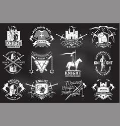 Set knight historical club badge design vector