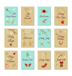 Set merry christmas and happy new year cards vector