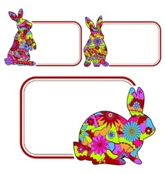 Set of banners with rabbits vector