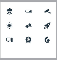 set of simple hitech icons vector image
