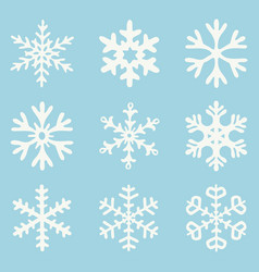 set white snowflakes vector image