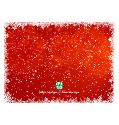 snowflake frame winter red background with snow vector image
