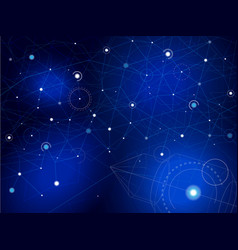 space map with rocket stars and lines on blue vector image
