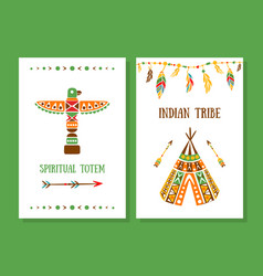 Spiritual totem indian tribe cards collection vector