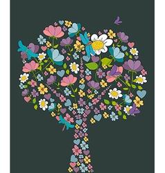 spring tree flower shape vector image