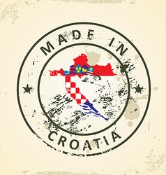 Stamp with map flag of Croatia vector image