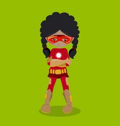 Superhero girl mulatto dark ironman 09 vector
