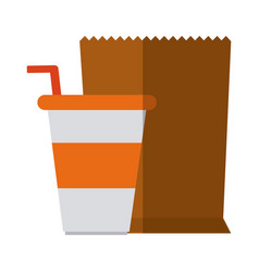 Takeaway disposable cup and paper bag flat icon vector