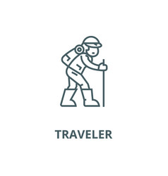 Travelerhiking man line icon linear vector