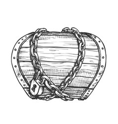 Treasure chest chain shrouded monochrome vector