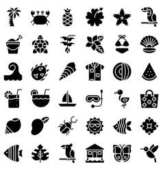 tropical related icon set solid style vector image