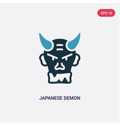 Two color japanese demon icon from other concept vector