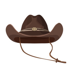 vintage cowboy hat with lace in dark brown color vector image
