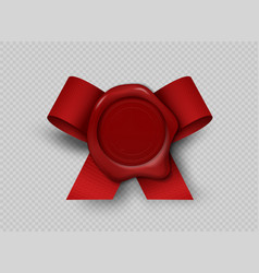 wax realistic seal 3d stamp with red ribbon on vector image