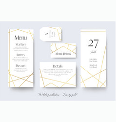 Wedding cards collection with goldern decoration vector