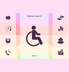Wheelchair handicap icon graphic elements for vector