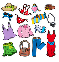 woman apparel collection vector image