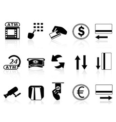 atm machine and credit card icons set vector image vector image