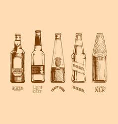 set of beer bottles vector image