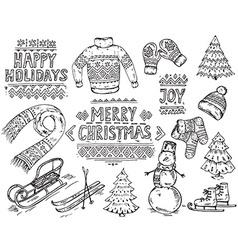 set of black and white hand drawn Christmas vector image
