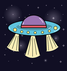 ufos in the galaxy space and mysterious creation vector image vector image
