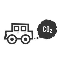 black outline car emits carbon dioxide vector image vector image