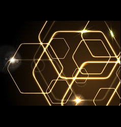 glowing orange neon hexagons background vector image vector image