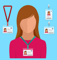 woman in suit with red tie and id badge employees vector image