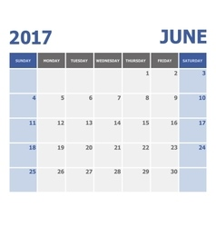2017 June calendar week starts on Sunday vector image vector image