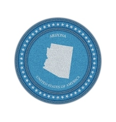 Label with map of arizona Denim style vector image