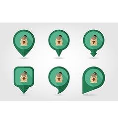Quail flat pin map icon animal head symbol vector