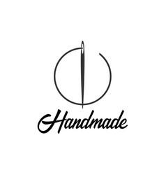 Tailor sewing handmade logo or emblem vector