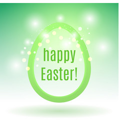 beautiful easter egg on green with glow particles vector image