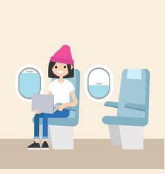 cute teenage girl sitting on the plane editable vector image vector image